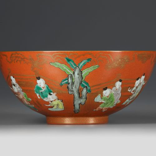 A FINE CHINESE CORAL GROUND FAMILLE VERTE 'BOYS' BOWL, JIAQING SIX CHARACTER SEA…