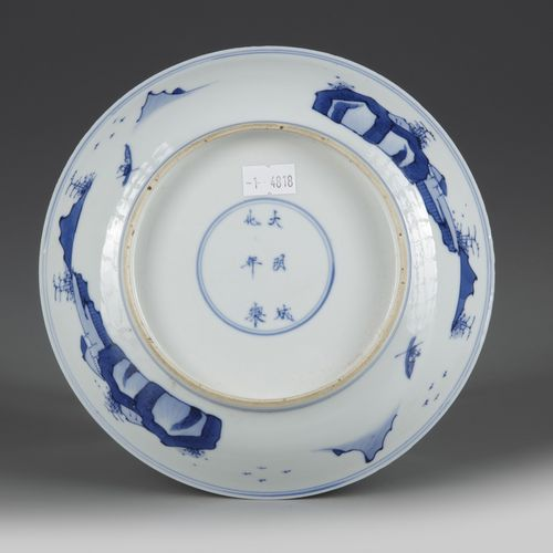 A CHINESE BLUE AND WHITE 'ROMANCE OF THE WESTERN CHAMBER' DISH, KANGXI PERIOD (1…