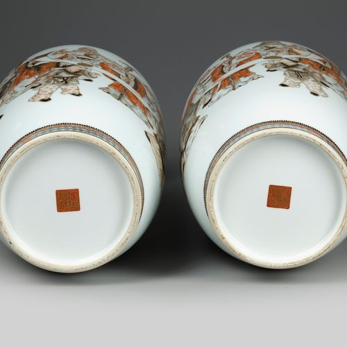 A PAIR OF CHINESE VASES, REPUBLIC PERIOD (1912 1949) The vases is decorated to t…