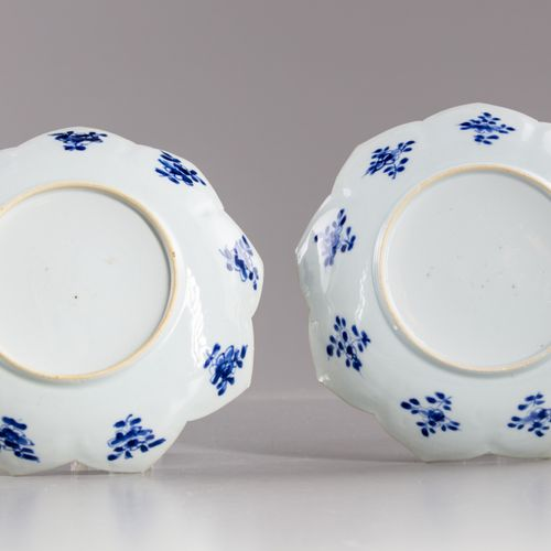 A PAIR OF CHINESE BLUE AND WHITE LOTUS SHAPED DISHES, KANGXI PERIOD (1662 1722) …