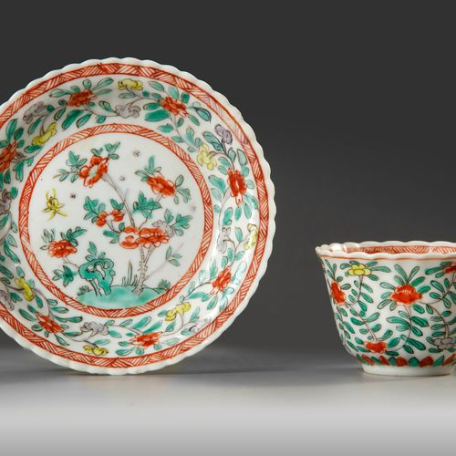 A CHINESE FAMILIE VERTE FOLIATE CUP AND SAUCER, KANGXI PERIOD (1662 1722) The pi…