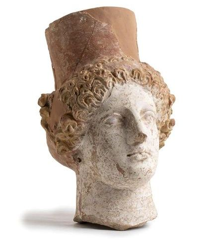 GREEK POLCROMY TERRACOTTA HEAD OF A GODDESS  4th 3rd century BC  height cm 28   …