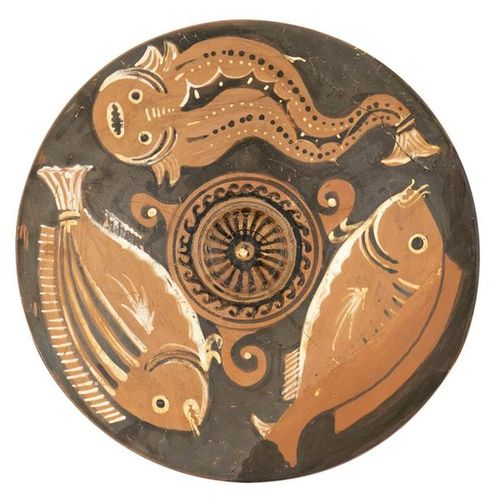 CANOSINE RED FIGURE FISH PLATE  Attribuited to the Black and White Stripes Paint…