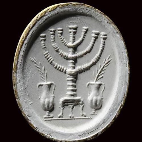 A rare and large roman sardonyx intaglio. Seven branched menorah. 1st 5th centur…
