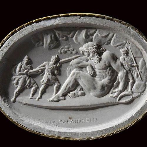 A very fine neoclassical agate intaglio signed Calandrelli.  Ulysses and his com…