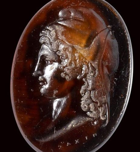 A neoclassical orange glass impression. Bust of Paris. 19th century 17 x 24 x 3 …