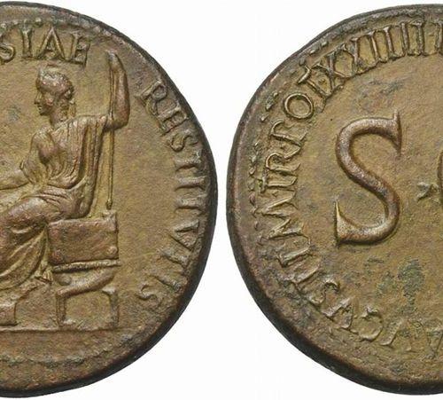 Tiberius (14 37), Sestertius, Rome, AD 22 23; AE (g 26,37; mm 35; h 11); CIVITAT…