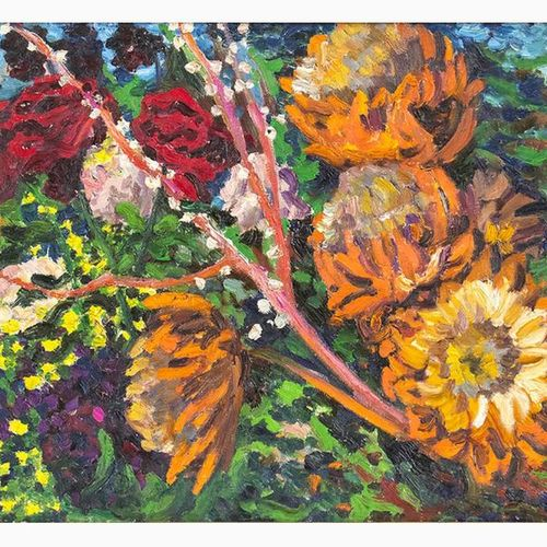 CARLO LEVI  Turin, 1902 Rome, 1975 Flowers Oil on canvas, 50 x 66 cm Signed and …