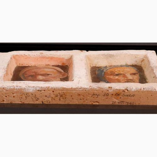 FERRUCCIO FERRAZZI  Rome, 1891 1978 Double self portrait, 1943 Encaustic on terr…