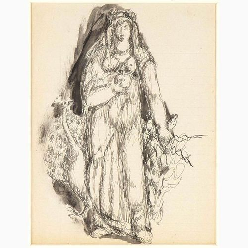 GUGLIELMO JANNI  Rome, 1892 1958 Woman with peacock, around 1935 China ink and w…