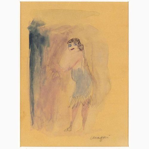 MARIO MAFAI  Rome, 1902 1965 Woman with a blue dress, 1958 Watercolor on yellow …