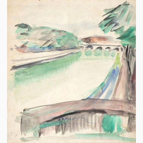 ROBERTO MELLI  Ferrara, 1885 Rome, 1958 View of Tiber, 1950 Watercolor on paper,…