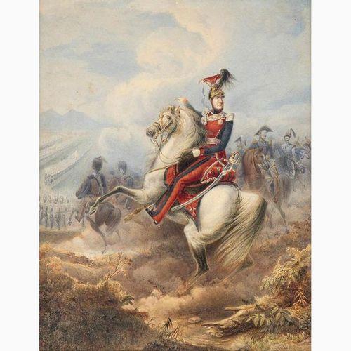 EMANUELE GIN  1817 ? Portrait of Ferdinand II on horseback, around 1850 Watercol…