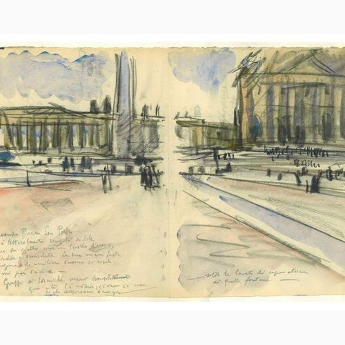 ANSELMO BUCCI  Fossombrone, 1887 Monza, 1955 St. Peter's Square, 1933 Charcoal a…