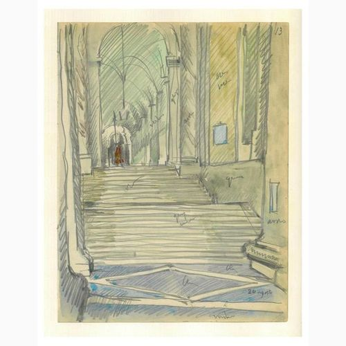 ANSELMO BUCCI  Fossombrone, 1887 Monza, 1955 Porch with stairs, 1938 Pencil and …
