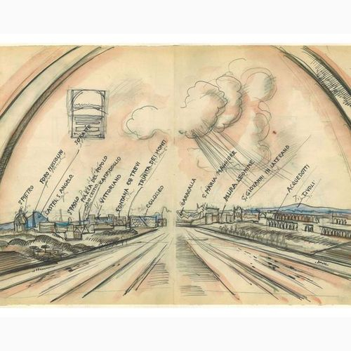 ANSELMO BUCCI  Fossombrone, 1887 Monza, 1955 Imperial Arch, 1938 Pencil and wate…