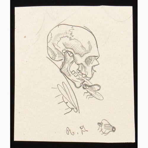 ROMANO DAZZI  Rome, 1905 La Lima, 1976 Four drawings with Memento Mori, 1919 Pen…