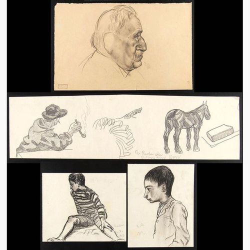ROMANO DAZZI  Rome, 1905 La Lima, 1976 Four drawings with a study of Figures, 19…