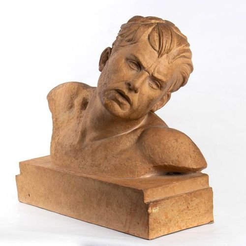 DEMETER CHIPARUS  Dorohoi, 1886 Paris, 1947 Bust of a man Terracotta sculpture, …