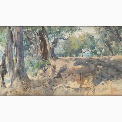 ONORATO CARLANDI  Rome, 1848 1939 Olive grove in Tivoli, 1923 Watercolor on pape…