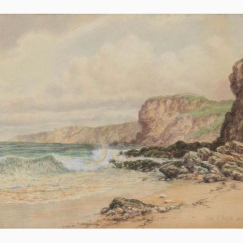 JOHN WILSON HEPPLE  Gateshead, 1886 1939 Cliff, 1929 Watercolor on paper, 26 x 3…