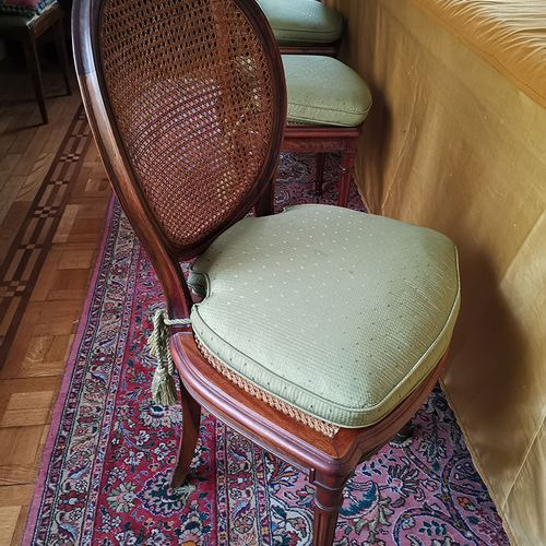 Set of six chairs cane back and sitting.