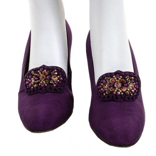 MILA SCHÖN ALTA MODA  DRESS AND JACKET  1981 ca Purple and pink silk crepe dress…