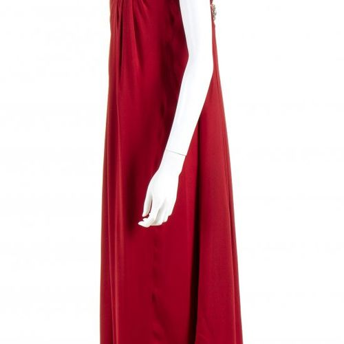 VALENTINO COUTURE  SILK CREPE EVENING DRESS  Spring/Summer 1984 Red silk crepe e…