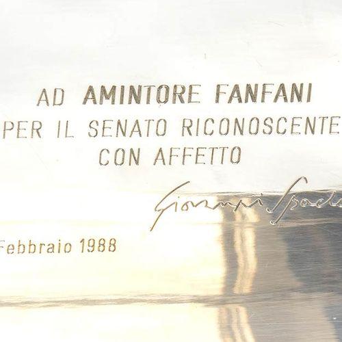 Boîte en argent 800/1000 avec dédicace de Giovanni Spadolini à Amintore Fanfani …