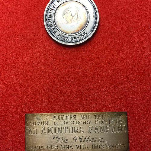 POGGIBONSI. Placca da tavolo 1991 Ad Amintore Fanfani. Médaille en argent (39 mm…
