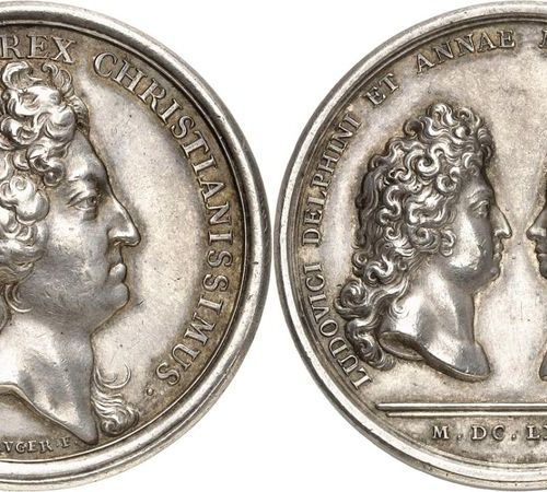 France Louis XIV (1643 1715)  Silver medal 1680 J. Mauger.  Commemorates the mar…