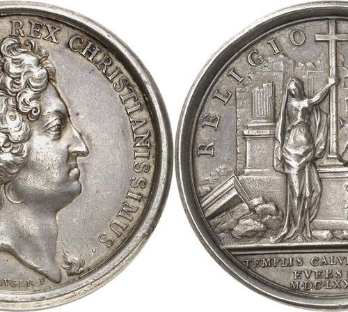 France Louis XIV (1643 1715)  Silver medal 1685 J. Mauger.  Commemorates the dem…