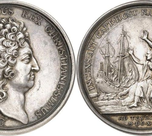 France Louis XIV (1643 1715)  Silver medal 1696 J. Le Blanc.  Commemorates the d…