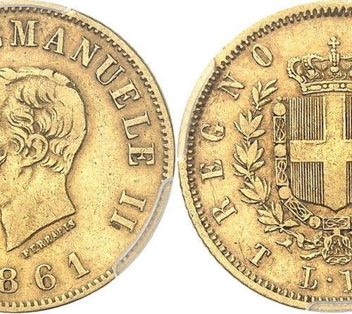 Italy Victor Emmanuel II (1861 1878)  10 gold lira 1861 T Turin.  Of a rare badg…