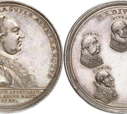 Vatican Pius VI (1775 1799)  Silver medal 1782 J. L. Oexlein.  Commemorates the …