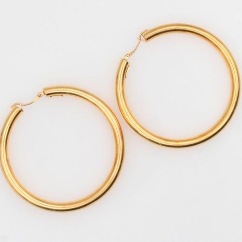 Pair of gold creoles 21.3 g.
