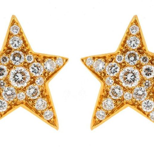 Pair of gold earrings with a star motif set with pavé of brilliant cut diamonds …