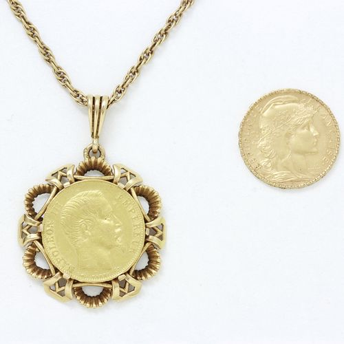 Lot en or 750 millièmes, composé d'un pendentif retenant une pièce de 20 francs …