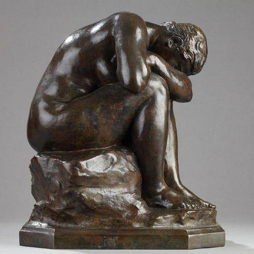 """DALOU """"Le miroir brisé"""" Epreuve en Bronze, fonte d'édition ancienne à patine bru…"""