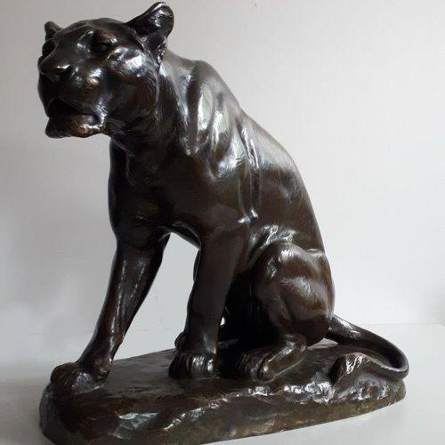 """Louis RICHE (1877 1949) """"Lionne à l'affût"""" Epreuve en Bronze, fonte d'édition à …"""