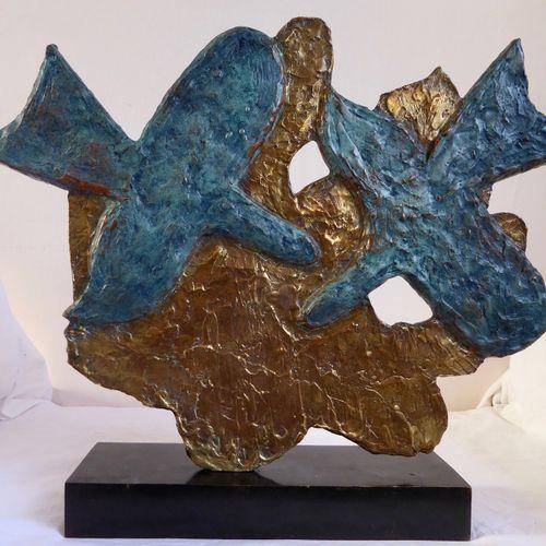 BRAQUE Georges : Les oiseaux bleus Sur fond or, hommage à Picasso Epreuve en bro…