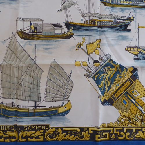 HERMES, Jonques et Sampars : Carré pure soie, dessin de F. De La Perrière (déchi…