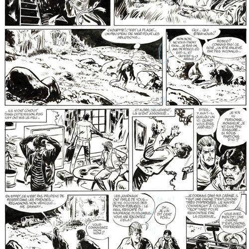 René FOLLET Valhardi, Le naufrageur aux yeux vides, planche originale à l'encre …