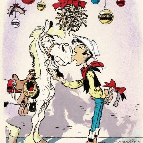 MORRIS Lucky Luke et Jolly Jumper, dessin original à l'encre de chine et aux enc…