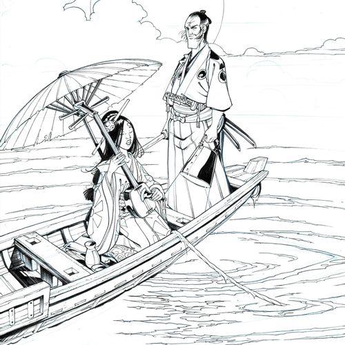 HUB Okko, couverture originale à l'encre de chine pour l'intégrale version nuit …