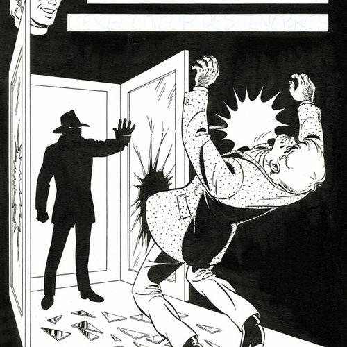 TIBET Ric Hochet, L'Exécuteur des ténèbres, couverture originale à l'encre de ch…