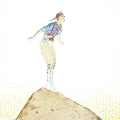 MOEBIUS Starwatcher, dessin original à l'aquarelle publié. Dimensions : 17 cm x …