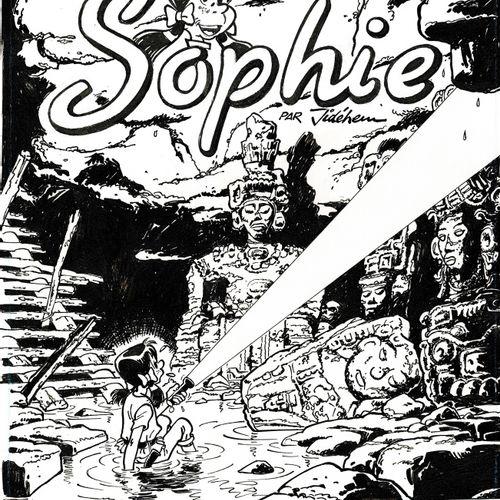 JIDEHEM Sophie, Le Tombeau des Glyphes, couverture originale à l'encre de chine …
