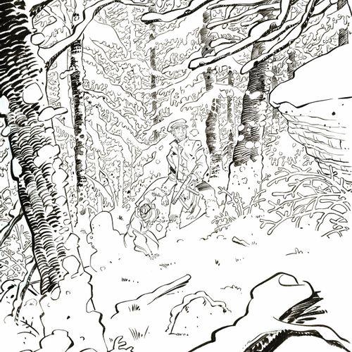 Pierre Alary Silas Corey, dessin original à l'encre de chine réalisé pour un ex …