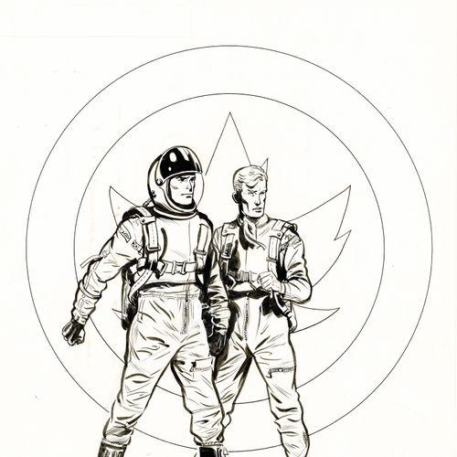 Albert WEINBERG Dan Cooper, Cap sur Mars, couverture originale à l'encre de chin…